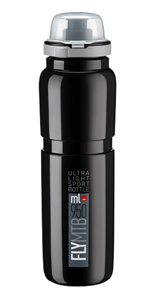 Láhev ELITE Fly MTB 0,95l černá, šedé logo