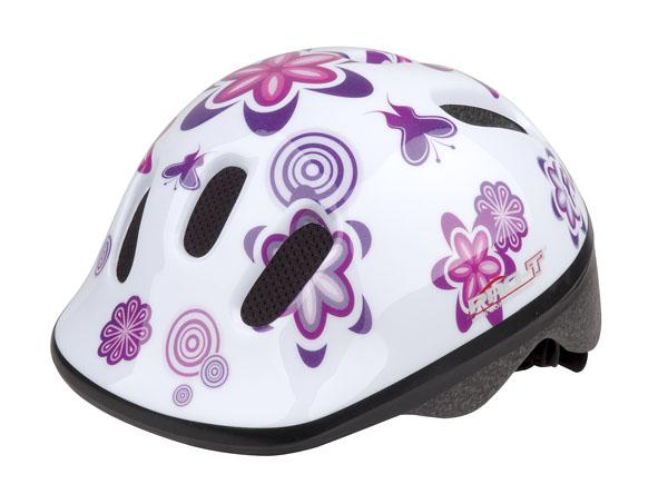 Přilba PRO-T Fafe dětská bílá, květy XS 44-48
