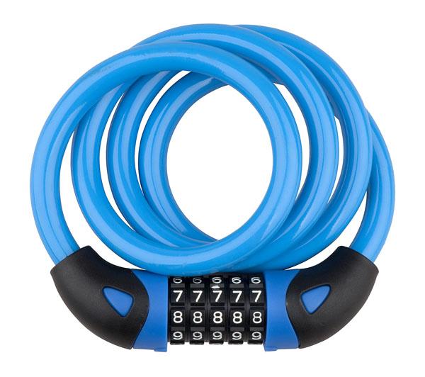 Zámek spirála kódový PRO-T Plus 5 čísel M12 x 120cm Color modrá