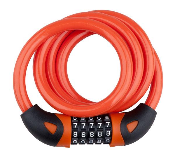Zámek spirála kódový PRO-T Plus 5 čísel M12 x 120cm Color oranžová