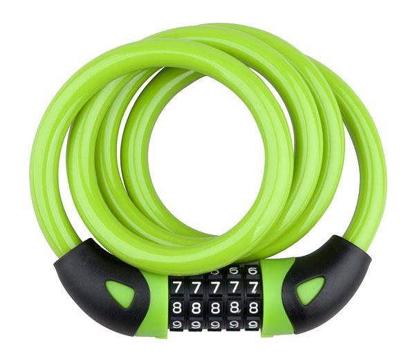 Zámek spirála kódový PRO-T Plus 5 čísel M12 x 120cm Color zelená
